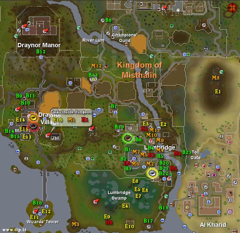 Lumbridge mapa de tarefas