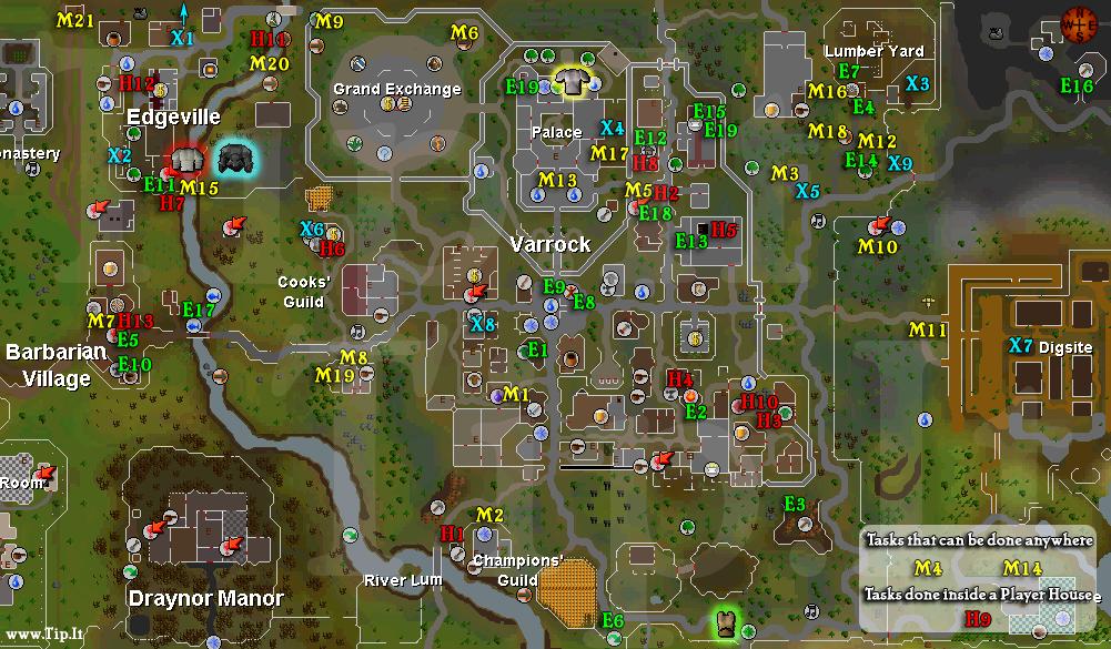 Tarefas de Varrock Mapa